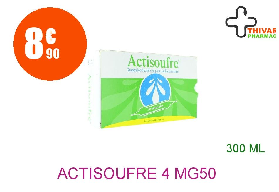 Achetez ACTISOUFRE 4 mg/50 mg par 10 ml Suspension Buvable et Nasale 30 Ampoule de 10ml