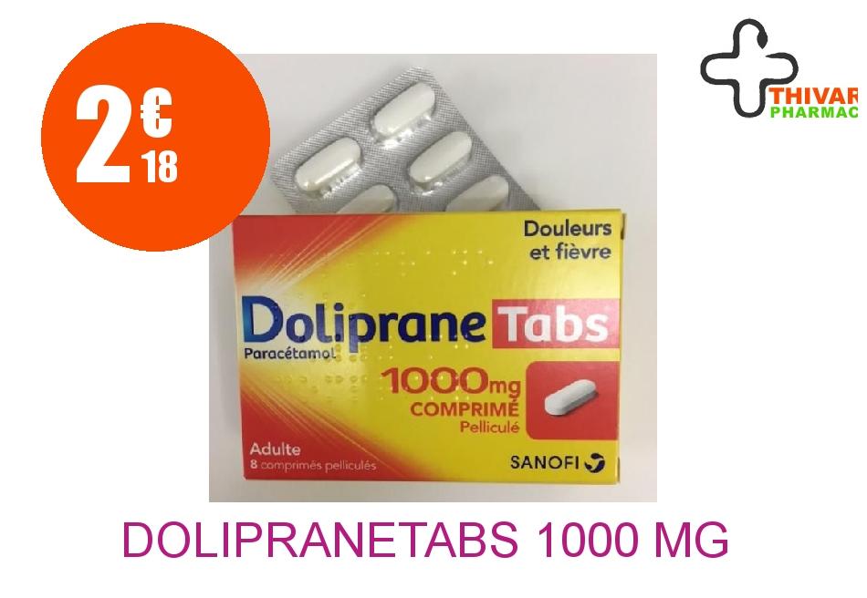 Achetez DOLIPRANETABS 1000 mg Comprimé Pelliculé Plaquette de 8