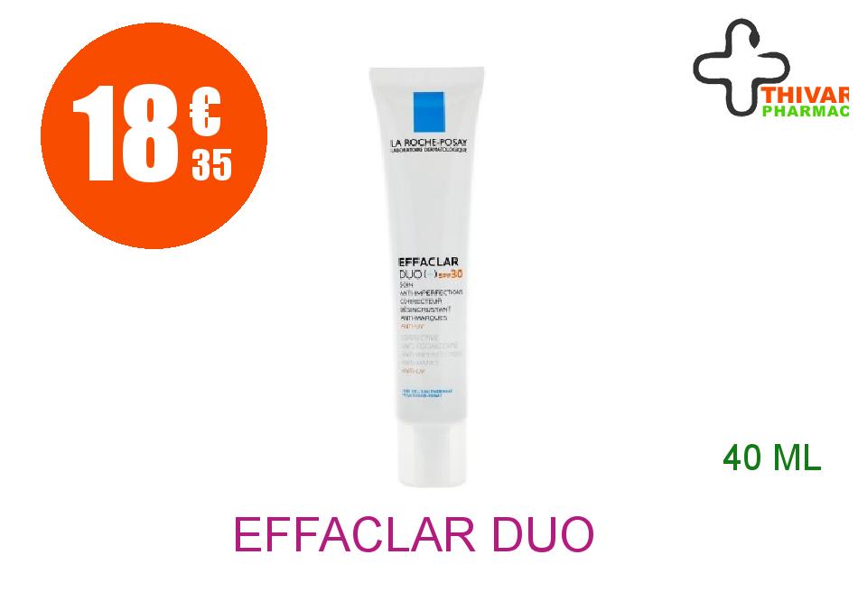 Achetez EFFACLAR DUO + LA ROCHE POSAY SPF30 Crème soin anti-imperfections marques récidive UV Tube de 40ml