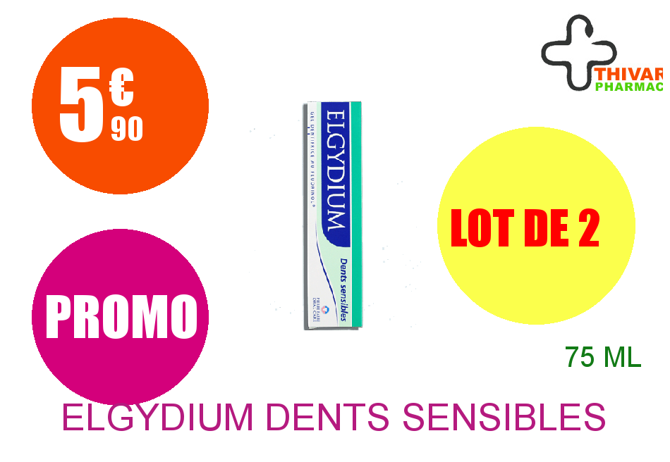 ELGYDIUM DENTS SENSIBLES Gel dentifrice Tube de 75ml Lot de 2