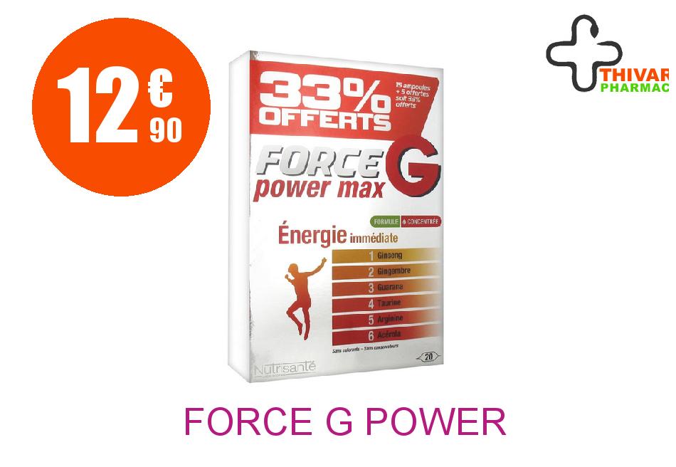 FORCE G POWER MAX Solution Buvable TONIQ 20 Ampoule de 10ML