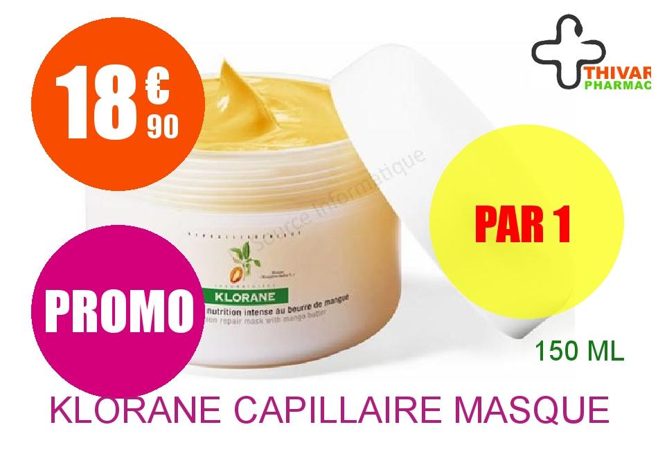 KLORANE CAPILLAIRE Masque réparateur Beurre de Mangue Pot de 150ml