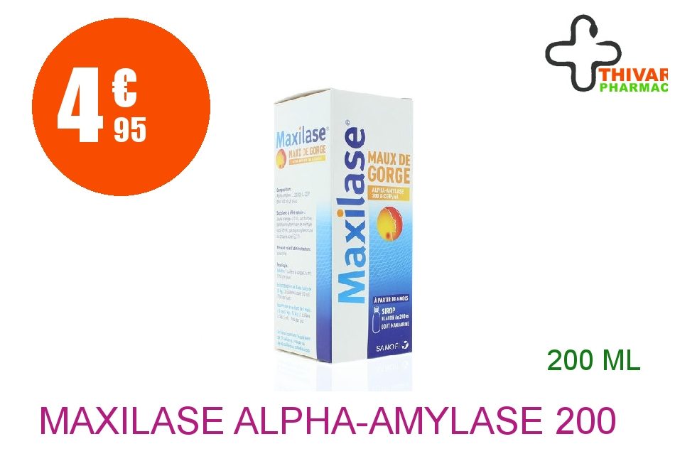 Achetez MAXILASE ALPHA-AMYLASE 200 U CEIP/ml Sirop maux de gorge Flacon de 200ml