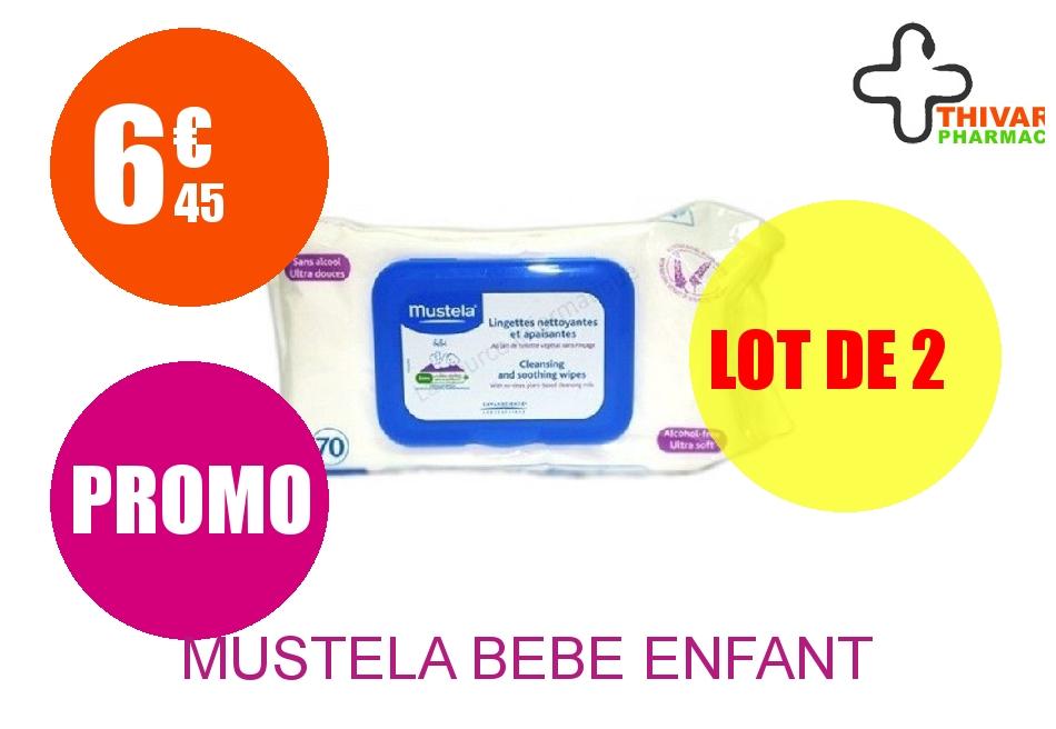 MUSTELA BEBE ENFANT Lingette dermo-apaisante parfumée Dévidoir de 70 Lot de 2
