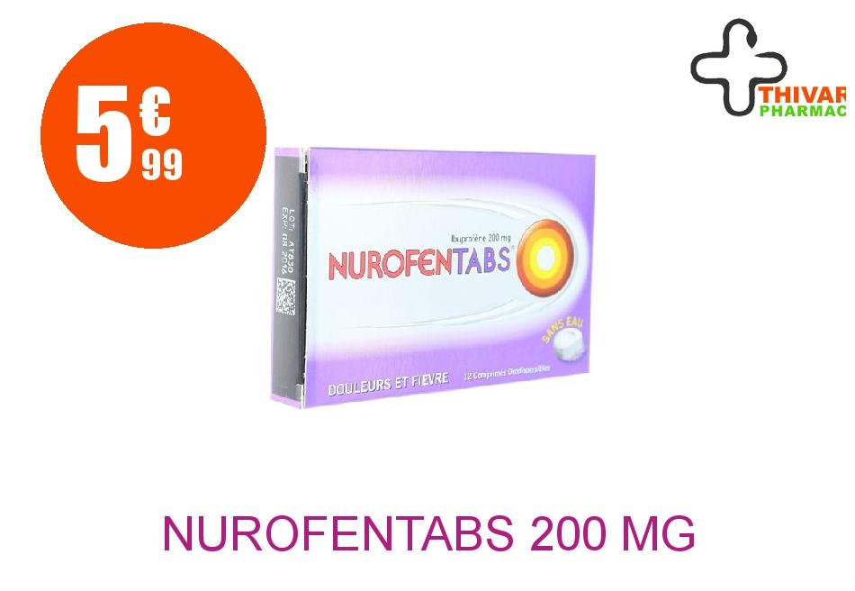 Achetez NUROFENTABS 200 mg Comprimé Orodispersible Plaquette de 12