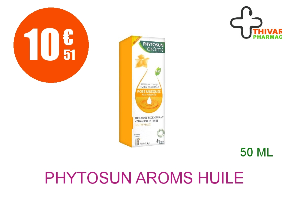 Achetez PHYTOSUN AROMS Huile végétale bio Rose musquée Flacon Pompe de 50ml