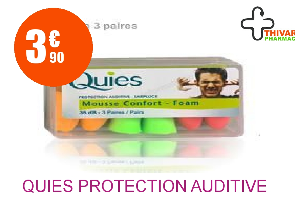 Achetez QUIES Protection auditive mousse fluo Boîte de 6